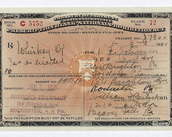 Treasury Dept Prohibition Whiskey Prescription  1924 by Daniel Hagerman