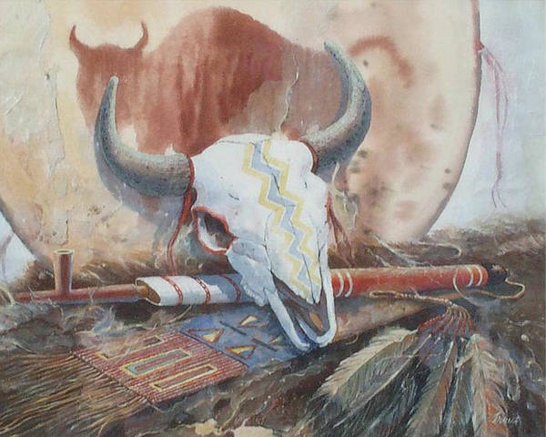 Buffalo Skull Poster featuring the painting Treaties Remembered by Don Trout