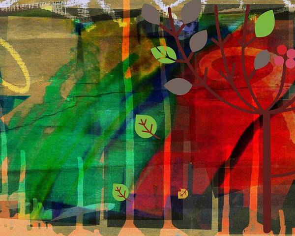 Abstract Color Poster featuring the digital art Tree and a skewed rainbow by Joseph Ferguson