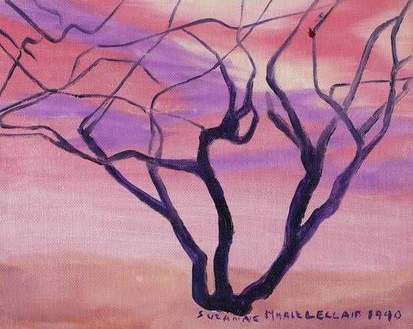 Tree Poster featuring the painting Tree At Sunset by Suzanne Marie Leclair