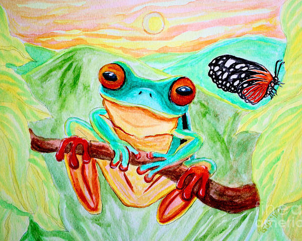 Tree Frog Poster featuring the painting Tree Frog And Butterfly by Nick Gustafson