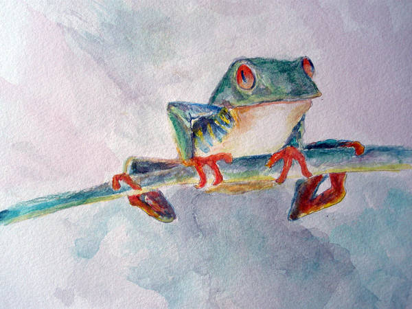 Frogs Poster featuring the painting Tree Frog by Mike Segura