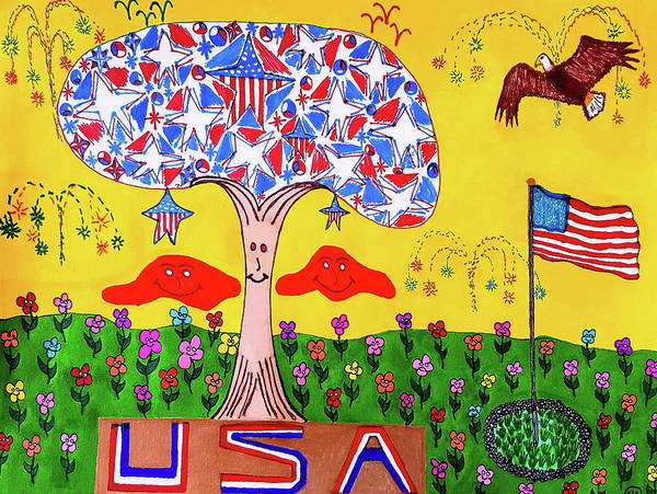 Abstract Design Poster featuring the drawing Tree Of Freedom And Glory by Neal Alicakos