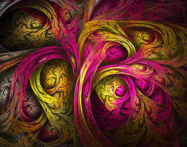 Fractal Poster featuring the digital art Tree Of Life In Pink And Yellow by Tammy Wetzel