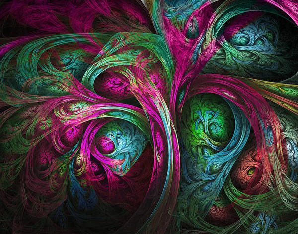 Fractal Poster featuring the digital art Tree Of Life-pink And Blue by Tammy Wetzel