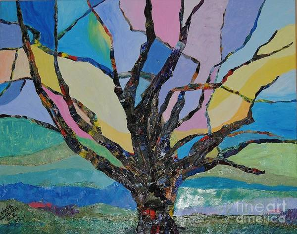 Landscape Poster featuring the mixed media Tree Petals by Judith Espinoza
