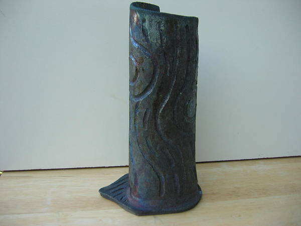 Raku Poster featuring the ceramic art Tree Trunk Vase by Julia Van Dine