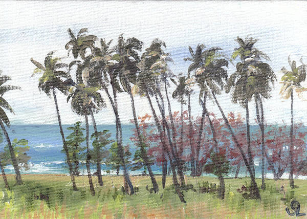 Puerto Rico Poster featuring the painting Tres Palmas by Sarah Lynch