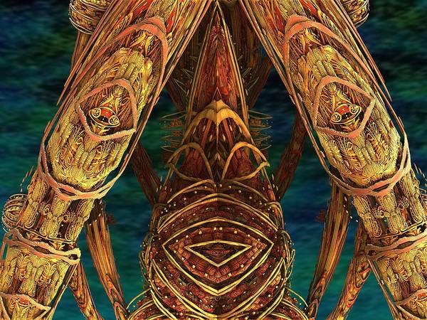 Blue Poster featuring the digital art Tribal Ancestors by Luma Studio designs