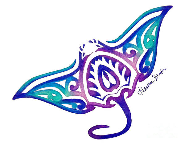 20bed8344 Ocean Poster featuring the drawing Tribal Manta Ray by Heather Schaefer