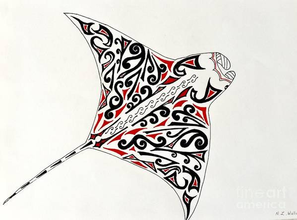 4f6e3ae4e Manta Ray Poster featuring the painting Tribal Tattoo And Manta Ray by  Natalia Wallwork