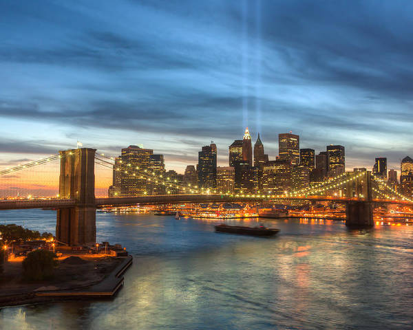 Clarence Holmes Poster featuring the photograph Tribute In Light I by Clarence Holmes