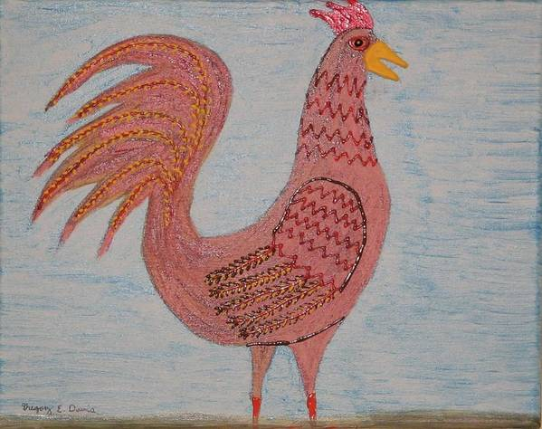 Barnyard Poster featuring the painting Tribute To A Mean Rooster by Gregory Davis