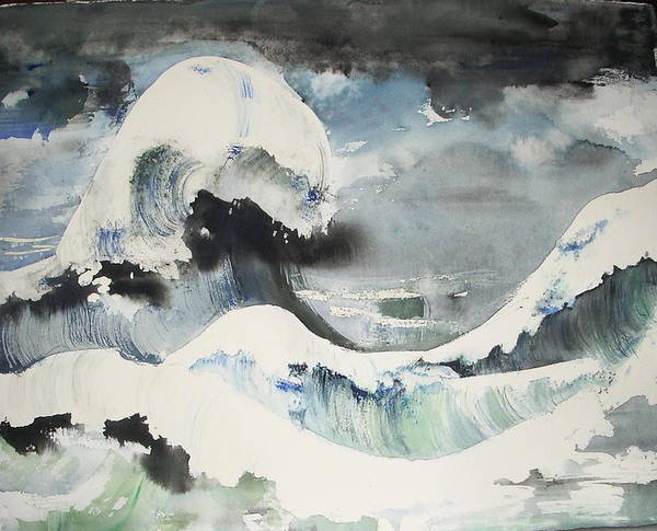 This Painting Is Done In The Style Of Hokusai Poster featuring the painting Tribute To Hokusai by Georgia Annwell