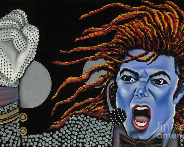 Blue Painting Poster featuring the painting Tribute To Michael by Nannette Harris