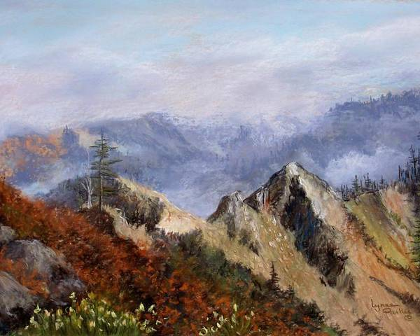 The Trinity Alps Of Northern California. Poster featuring the pastel Trinity Alps by Lynne Parker