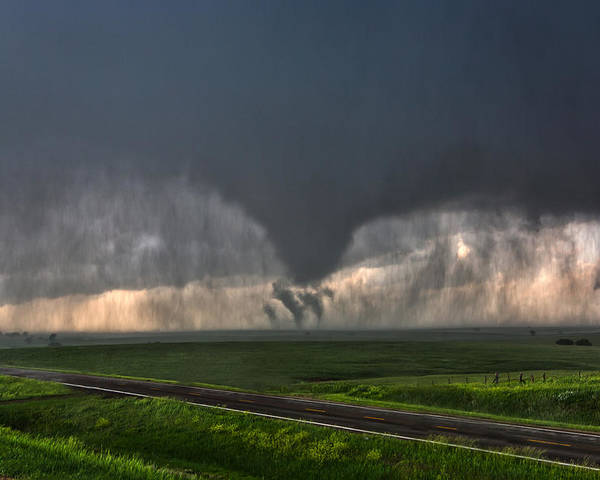 Supercell Poster featuring the photograph Tripple Vorticies by James Menzies