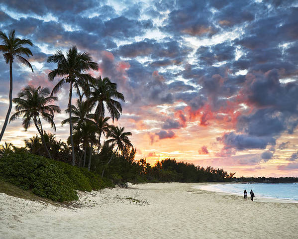 Beach Poster featuring the photograph Tropical Caribbean White Sand Beach Paradise At Sunset by Dave Allen