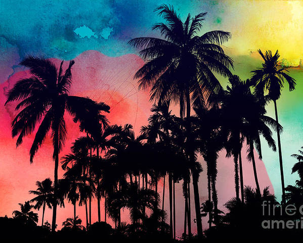 Poster featuring the painting Tropical Colors by Mark Ashkenazi