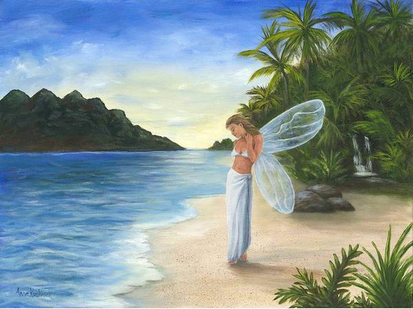 Fairy Poster featuring the painting Tropical Fairy by Anne Kushnick