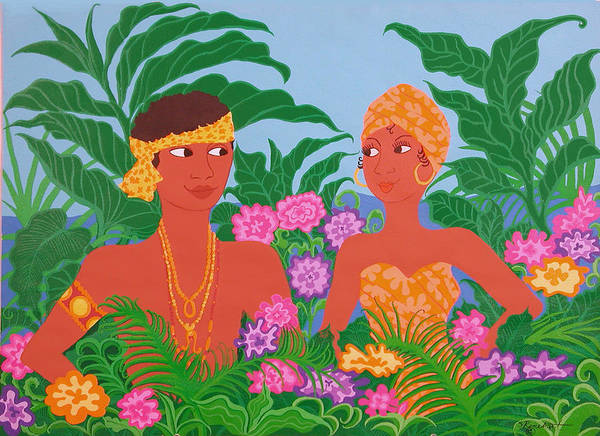 Tropicial Painting Poster featuring the painting Tropical Flirtation by Susan Rinehart