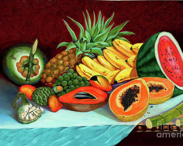 Coconut Poster featuring the painting Tropical Fruits by Jose Manuel Abraham