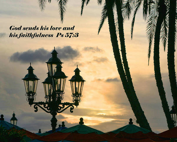 Poster featuring the photograph Tropical Sunset Psalm Fifty Seven Vs Three by Linda Phelps