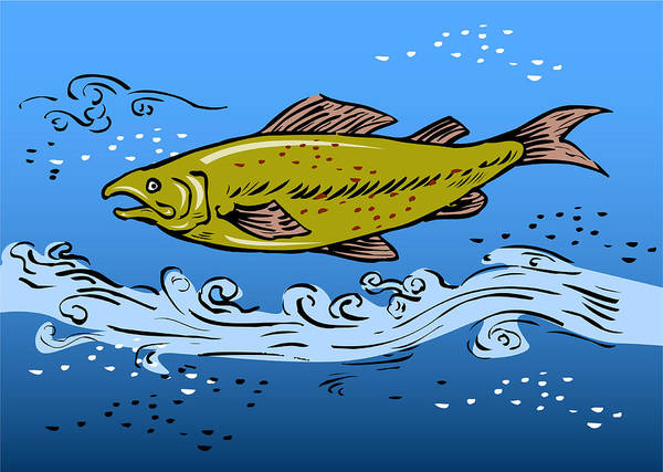 Trout Poster featuring the digital art Trout Fish Swimming Underwater by Aloysius Patrimonio