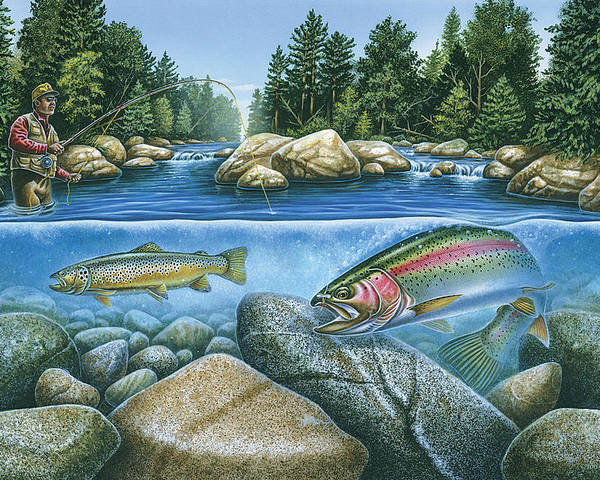 Jon Q Wright Poster featuring the painting Trout View by JQ Licensing