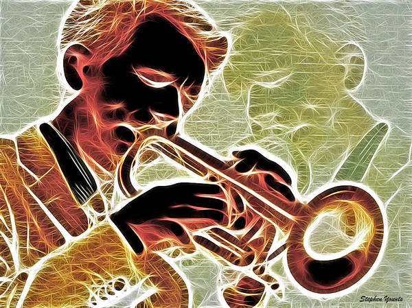 Trumpet Poster featuring the digital art Trumpet by Stephen Younts