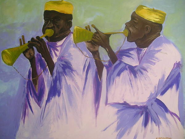 Local Poster featuring the painting Trumpeters by Joe Ibenegbu Azunna