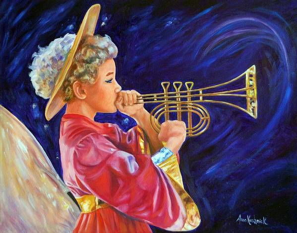 Angel Poster featuring the painting Trumpeting Angel by Anne Kushnick