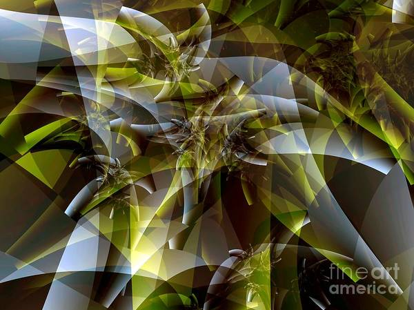 Fractal Art Poster featuring the digital art Trunks In Green And Gray by Ron Bissett