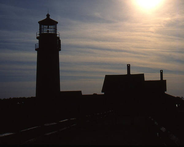 Ocean Poster featuring the photograph Truro Lighthouse In Silhouette by Roger Soule