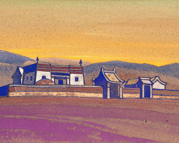 Architectural Poster featuring the painting Tsagan-kure, Inner Mongolia by Nicholas Roerich