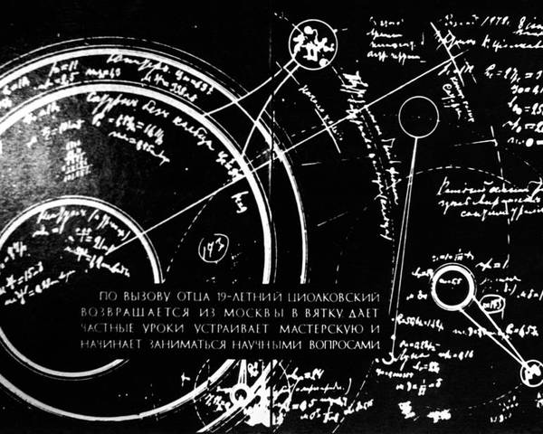 Diagram Poster featuring the photograph Tsiolkovsky's Works On Space Conquest by Ria Novosti