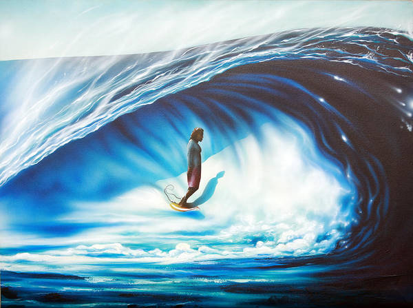 Surf Poster featuring the painting Tube Time by Ronnie Jackson