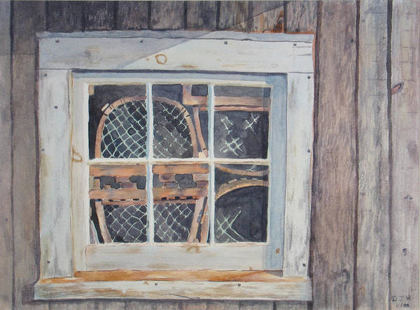 Lobster Traps Poster featuring the painting Tucked Away by Debbie Homewood