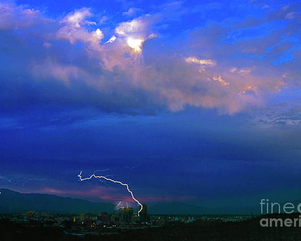 Lightning Poster featuring the photograph Tucson Power Outage-signed-#004 by J L Woody Wooden
