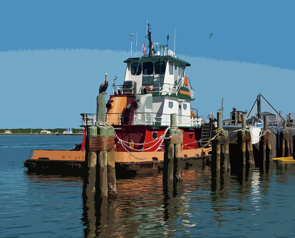 Tug Poster featuring the painting Tug Indian River At Port Canaveral In Florida Usa by Allan Hughes