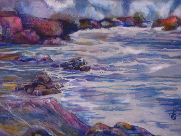 Seascape Poster featuring the painting Tug Of War by Mary Sonya Conti