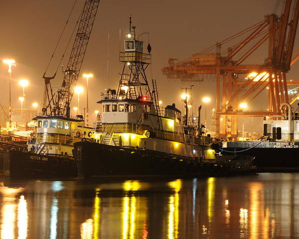 Tugboat Fog Maritime Shipping Boat Ship Marine Night Water Ocean Poster featuring the photograph Tugboat in the fog by Alasdair Turner