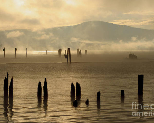 Tugboat Poster featuring the photograph Tugboat In The Mist by Idaho Scenic Images Linda Lantzy