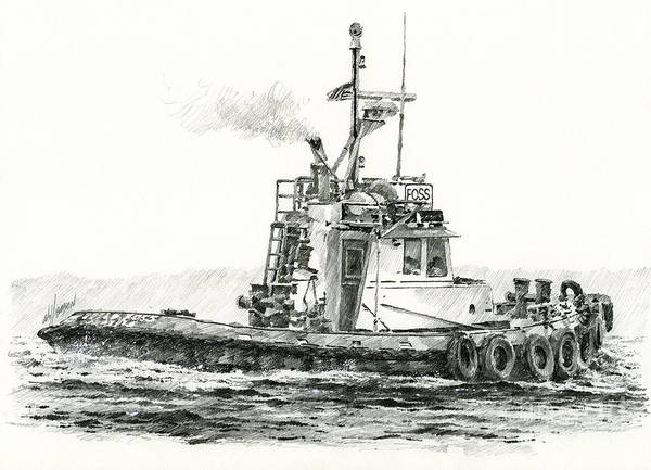 Tugs Poster featuring the drawing Tugboat Kelly Foss by James Williamson