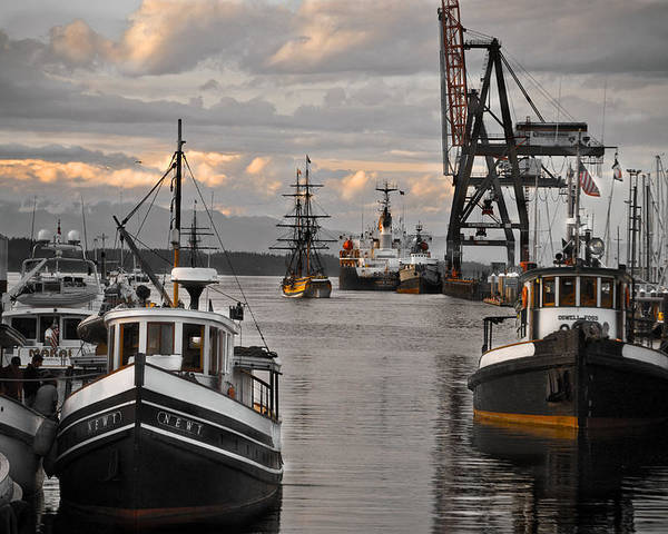 Tugs Poster featuring the photograph Tugs And Lady Washington by Craig Perry-Ollila