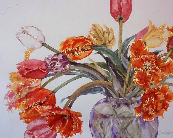 Watercolor Poster featuring the painting Tulip Bouquet - 12 by Caron Sloan Zuger