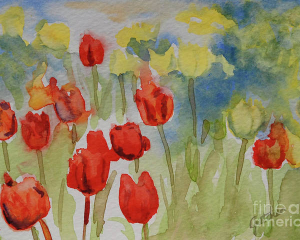 Tulips Poster featuring the painting Tulip Field by Gretchen Bjornson