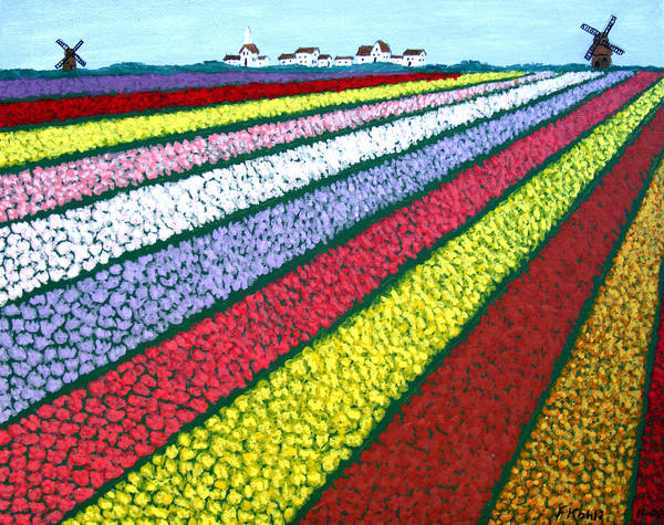 Landscape Paintings Poster featuring the painting Tulip Fields by Frederic Kohli