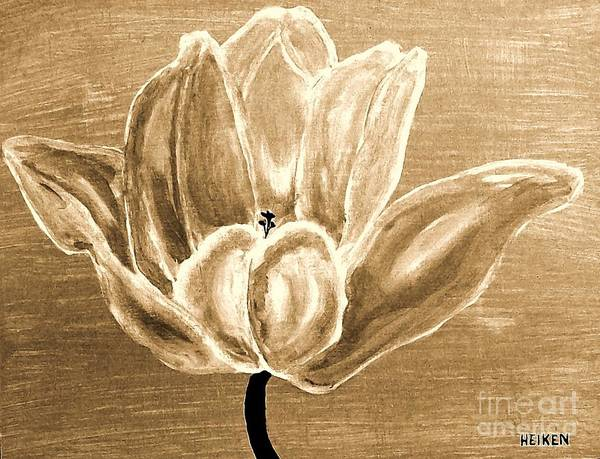 Painted Poster featuring the painting Tulip In Brown Tones by Marsha Heiken