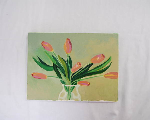 Still Life Of Dancing Tulips Poster featuring the painting Tulips Dancing by Marti Kuehn